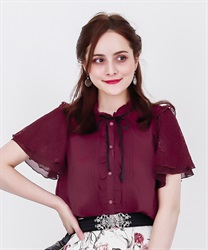 Lacy Sleeve Blouse(Red-Free)