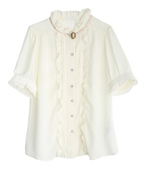Antique blouse with camel(White-M)