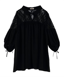 Lace Design Tunic Blouse(Black-Free)