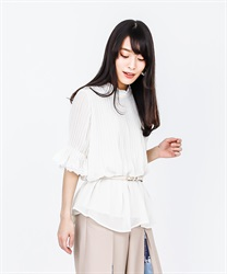 Pleated Tunic Blouse(White-Free)