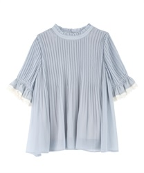 Pleated Tunic Blouse(Saxe blue-Free)