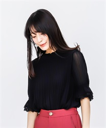 Pleated Tunic Blouse(Black-Free)