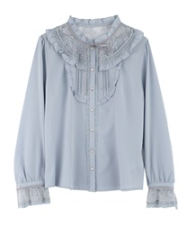 Lacey blouse(Saxe blue-Free)
