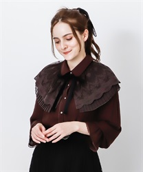 Cape style blouse with ribbon(Dark brown-Free)