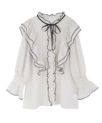 Dotted ribbon frills blouse(Ecru-Free)