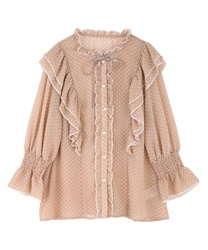 Dotted ribbon frills blouse(Pale pink-Free)