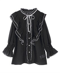 Dotted ribbon frills blouse(Black-Free)
