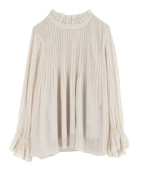 High-Necked Pleated Blouse(Ecru-Free)