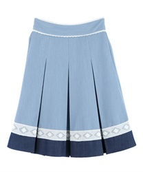 【MAX70%OFF】Bi-color skirt with lace at hem(Wash-Free)