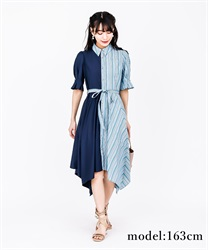 Bi-Collar Irehem Dress(Blue green-Free)