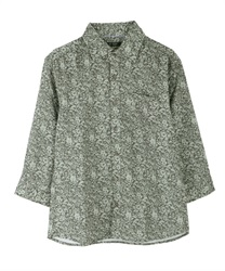 Flower pattern men shirt(Khaki-M)