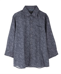 Flower pattern men shirt(Navy-M)
