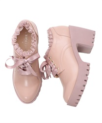 Platform Ankle Boots with Organdy Frill and Satin Ribbon Decoration(Pale pink-S)