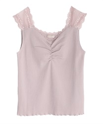 Lace on shoulders tuck(Pale pink-Free)