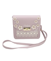 Pouch Bag with Flower Decoration(Lavender-M)
