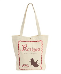 Cat and Cafe Printed Canvas Tote Bag(Ecru-M)