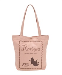 Cat and Cafe Printed Canvas Tote Bag(Pale pink-M)