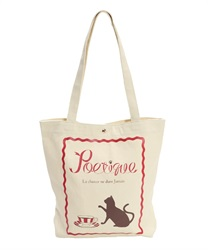 Cat and Cafe Printed Canvas Tote Bag