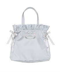 Embroidered satin tote bag(Saxe blue-M)