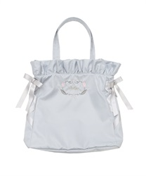 Embroidered satin tote bag