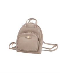 Front pocket synthetic leather backpack(Beige-M)