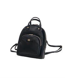 Front pocket synthetic leather backpack(Black-M)