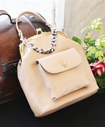 Plastic chain 2 way backpack(Beige-M)