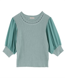 Pearl Design Knit Pullover(Green-Free)