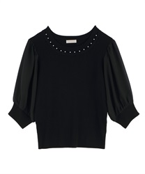 Pearl Design Knit Pullover(Black-Free)