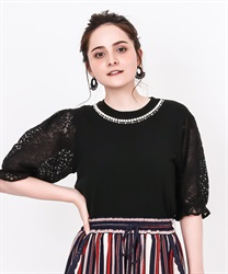 Lace-sleeved Knit Pullover(Black-Free)