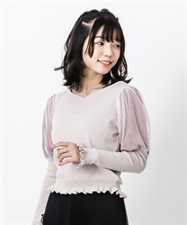 Heart neck bubble sleeve knit pullover(Pale pink-Free)