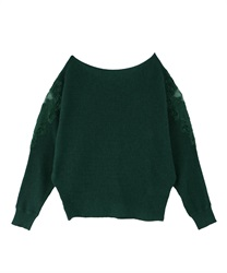 Shoulder lace dolman knit pullover(Green-Free)