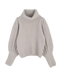 Volume sleeve knit pullover(Grey-Free)