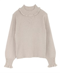 Short Turtleneck Glitter Knit Pullover(Beige-M)