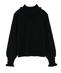 Short Turtleneck Glitter Knit Pullover(Black-M)