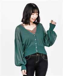 Sheer Knit Cardigan(Green-Free)