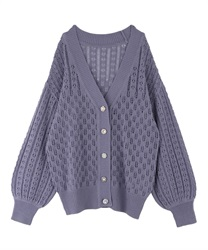 Bijou button transparent middle cardigan(Lavender-Free)