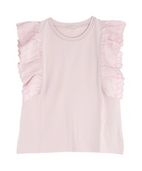 【2Buy20%OFF】Cotton Lace Ruffle PO(Pale pink-Free)