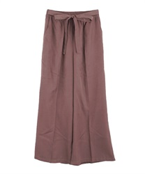 【2Buy10%OFF】Glossy Twill Flared Pants(DarkPink-Free)