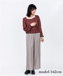 【2Buy10%OFF】Glossy Twill Flared Pants(Grey-Free)