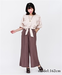 【2Buy10%OFF】Glossy Twill Flared Pants
