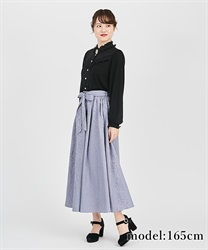 【2Buy10%OFF】Ornament jacquard skirt(Blue-Free)