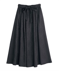 【2Buy10%OFF】Ornament jacquard skirt(Black-Free)