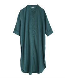 Buttons shirt one-piece(Blue green-Free)