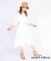 【2Buy10%OFF】Short-sleeved long shirt(White-Free)