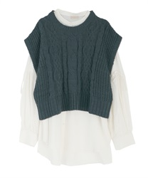 Shirt tunic with knit vest(Ecru-Free)