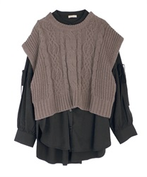 Shirt tunic with knit vest(Black-Free)