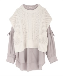 Shirt tunic with knit vest(Greige-Free)