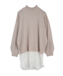 Layered style tunic ribbon on back(Beige-Free)