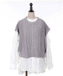 Shirt tunic with vest(Ecru-Free)